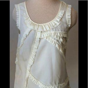 J Crew silk top. Ruffle design, sleeveless, size 2